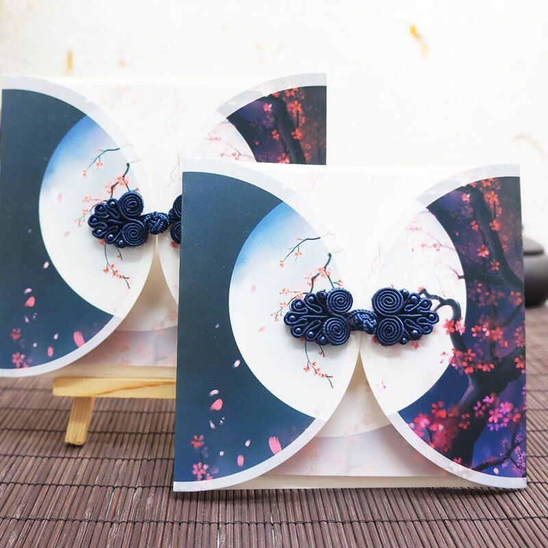 Kawaii Stationery Vintage Knot Greeting Cards Elegant Flowers Postcards Birthday