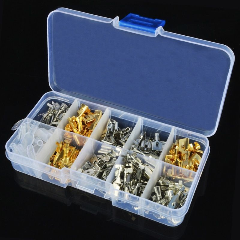 Non-insulated Mixed FemaleS spade Crimp Terminal Connector Kit 2.8mm//4.8mm//6.3m