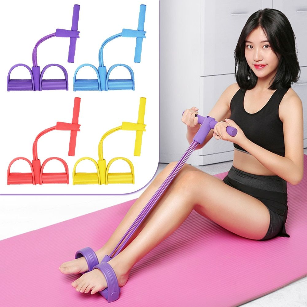 4-Tube Sit-up Pull Rope Yoga Exercise Resistance Band Foot Pedal Gym Fitness HOT