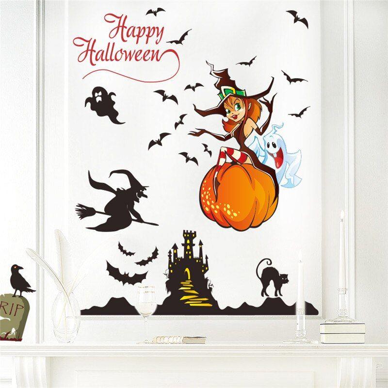 Halloween Wall Sticker Home Decor Witch Ghost Pumpkin