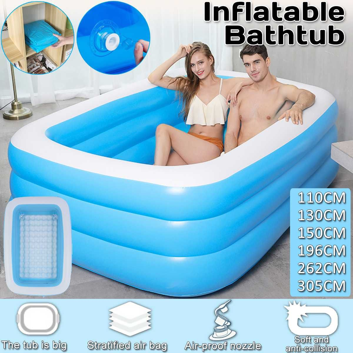 Folding Blow up Kiddie Pool Garden Outdoor Bathtubs Inflated Tubs for Kids Adult