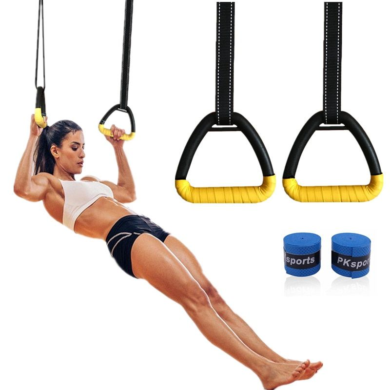 Gym Rings Gymnastic Olympic Pair for Crossfit Pull Ups Strength Training Skip