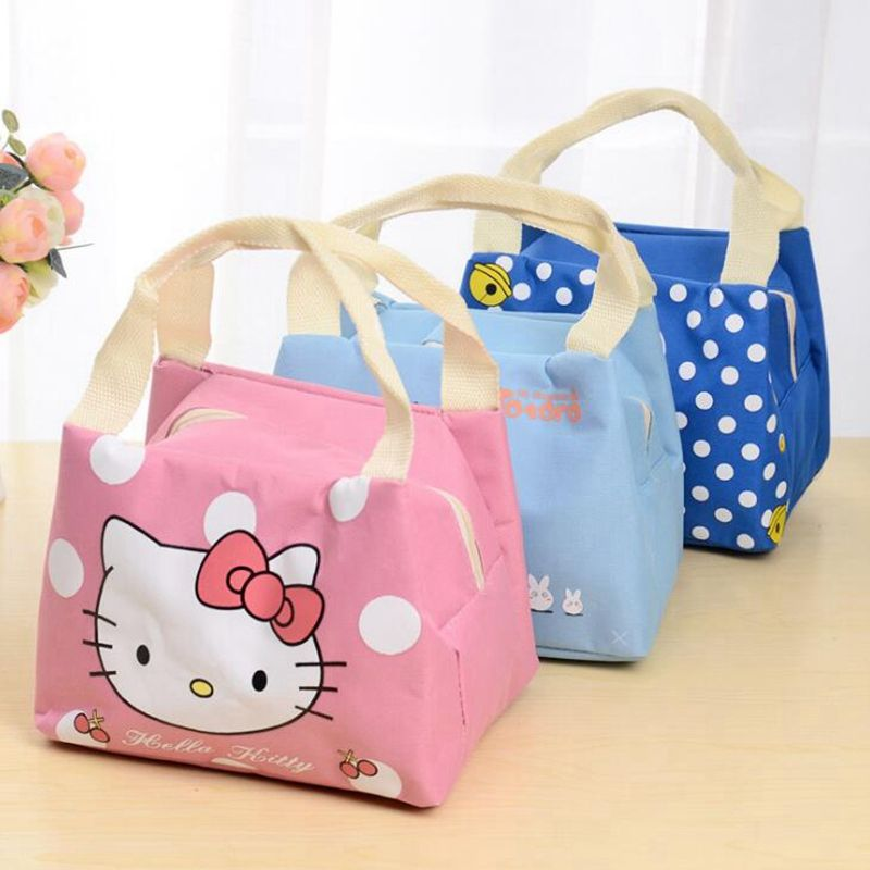 Product Details. Women Men Casual Hello Kitty Lunch Bags Portable  Functional Canvas Insulated Thermal Food Picnic Kids Cooler ... 9e412ff28ef92