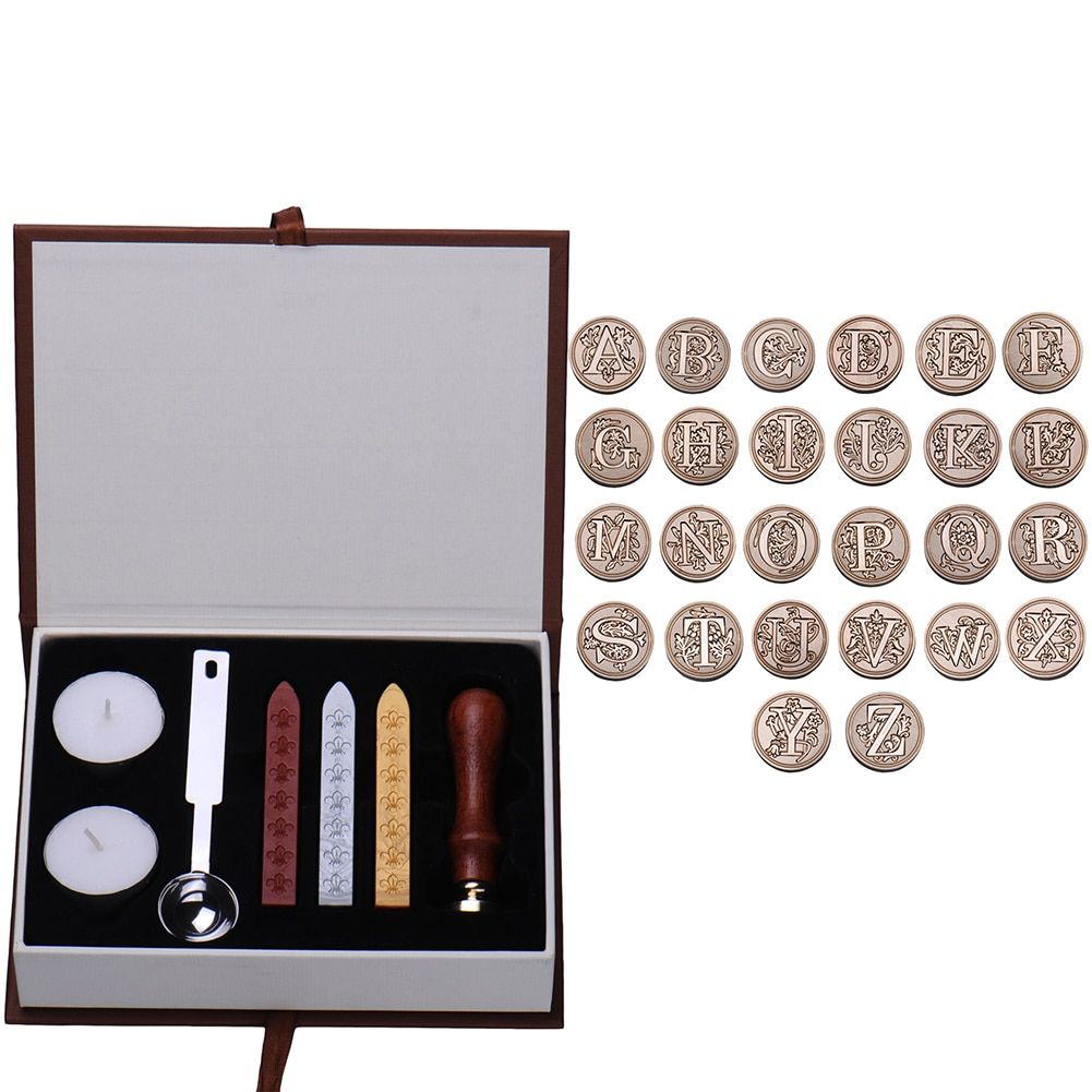 Personalized Single Alphabet Letter A-Z Vintage Wax Seal Stamp Kit For Crafts
