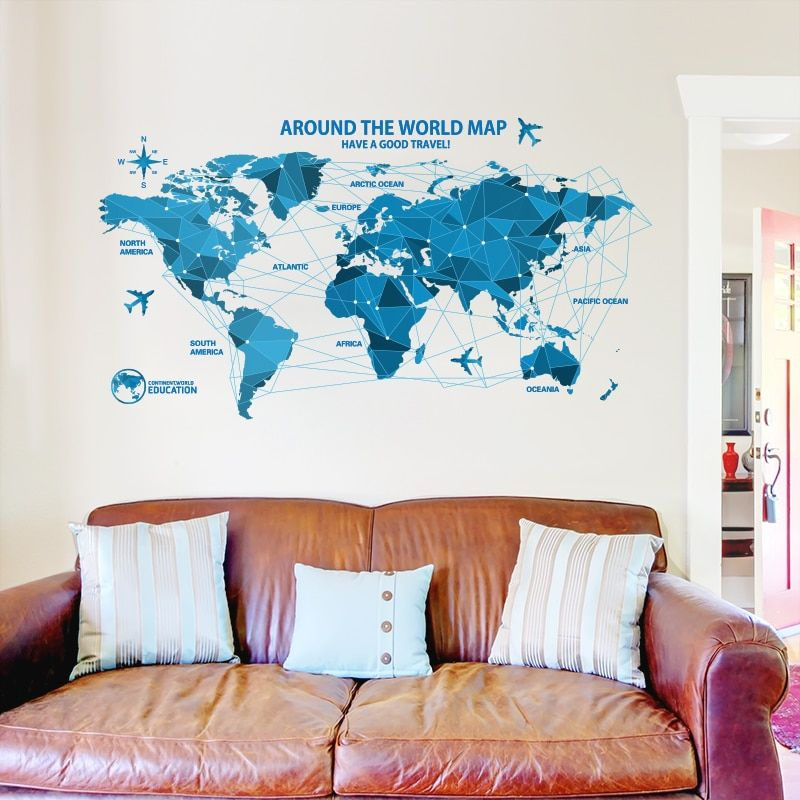 3D Large Map Of World Smooth Solid Crystal Acrylic Wall Sticker Home Decor