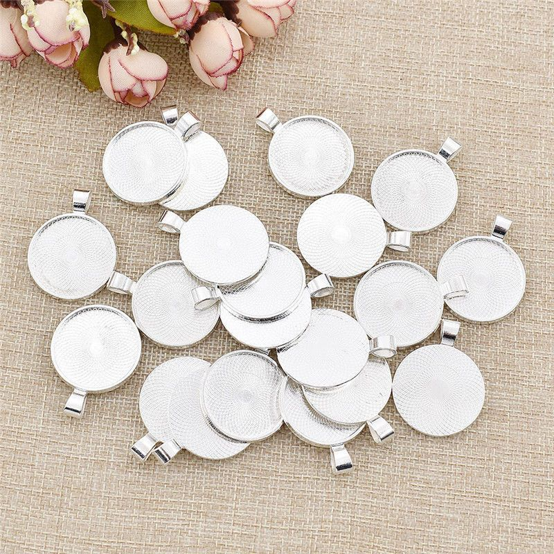 20Pcs DIY 25mm Round Charm Pendant Tray Blank for Photo Frame Cabochon Base
