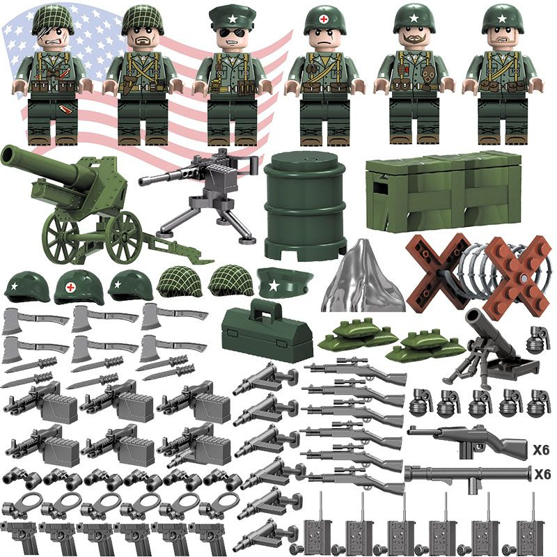 Military Motorcycle Model Building Blocks with Army Soldier Figures Toys Bricks