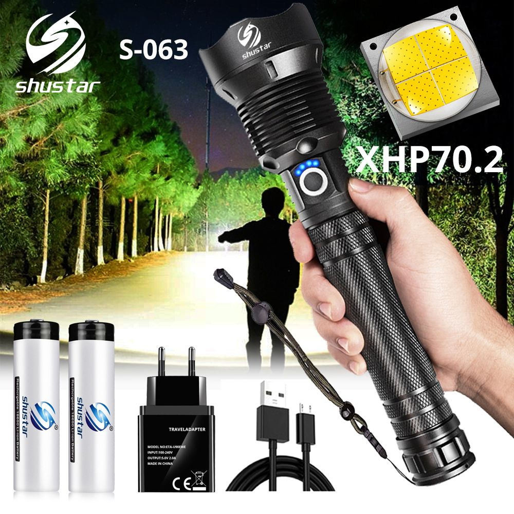 LED Flashlight XHP70.2 Lamp Bead Tactical Torch Waterproof 5 Lighting mode LIGHT