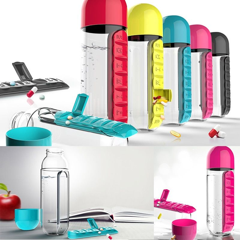 Portable Water Bottle Plastic BPA Free Daily Pill Box Leak-Proof Drinking O3P7