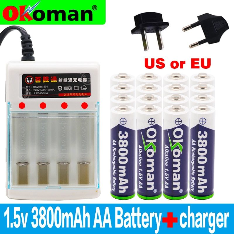 Rechargeable Battery Aa 3800mah 1 5v Alkaline For Torch Toys Clock Mp3 Charger Ebay