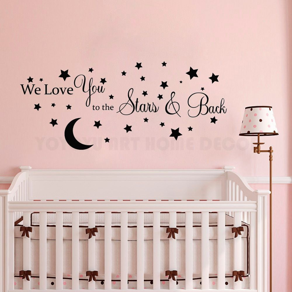 Details about Moon And Stars Vinyl Wall Sticker Kids Boys Baby Bedroom Wall  Decal Removable