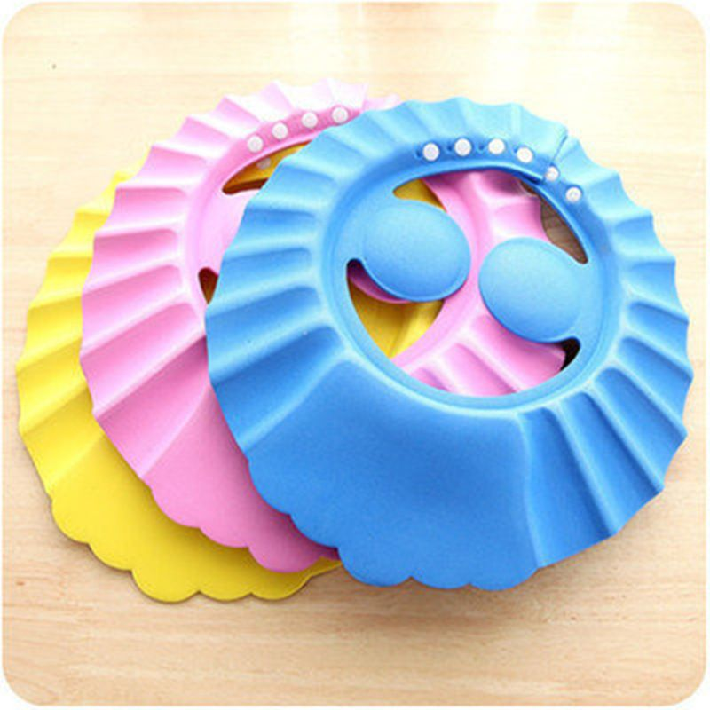 7b95ab601f0 Children Waterproof Cap Safe Baby Shower Cap Kids Bath Hat Protect Eyes Hair