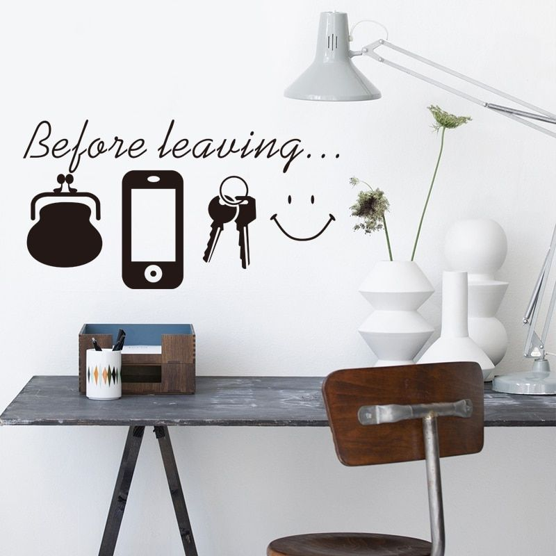 Details about Before Leaving Reminder Quotes Wall Stickers Bedroom Living  Room Door Wall Decor