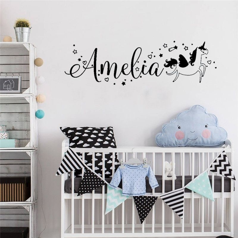 Custom Name Wall Sticker Vinyl Mural Unicorn Baby Room Decoration Boys Girls Ebay