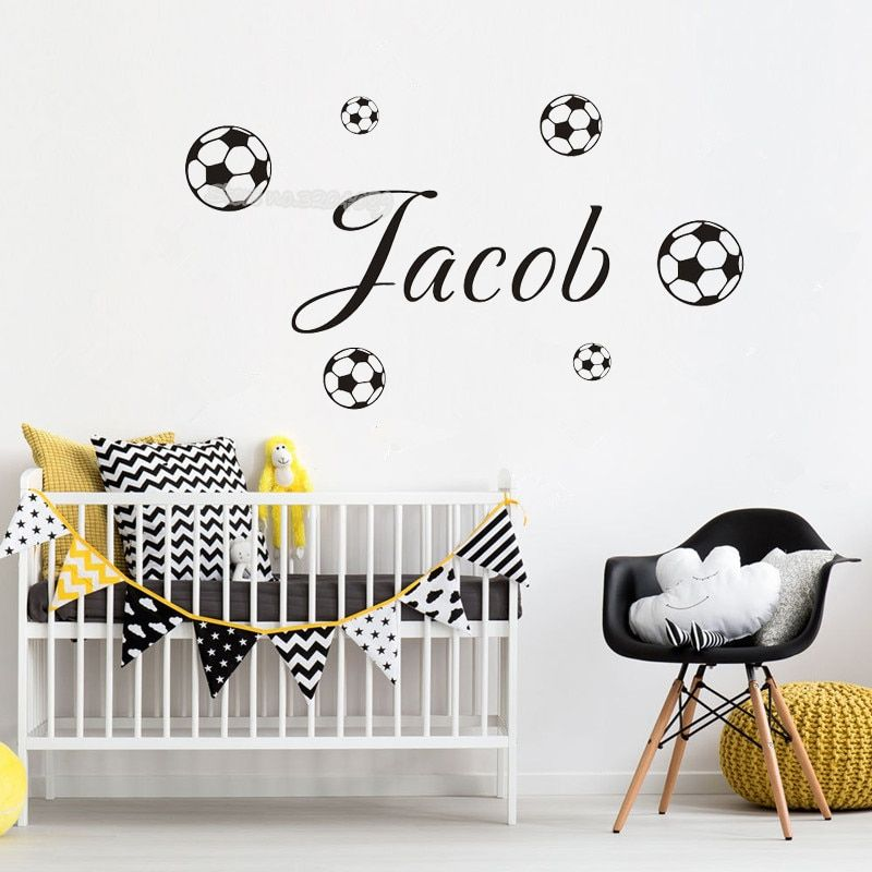 Details about Soccer Wall Sticker Custom Name Child Bedroom Boys Room Vinyl  Decal Football
