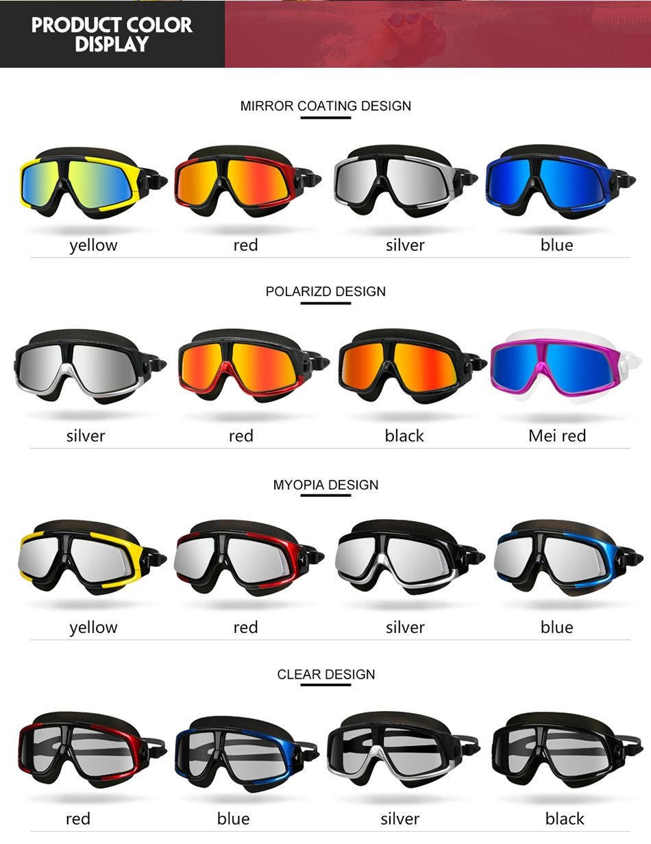 554988aa3ea Swimming Goggles Comfortable Silicone Large Frame Swim Glasses Mask Anti-Fog  UV