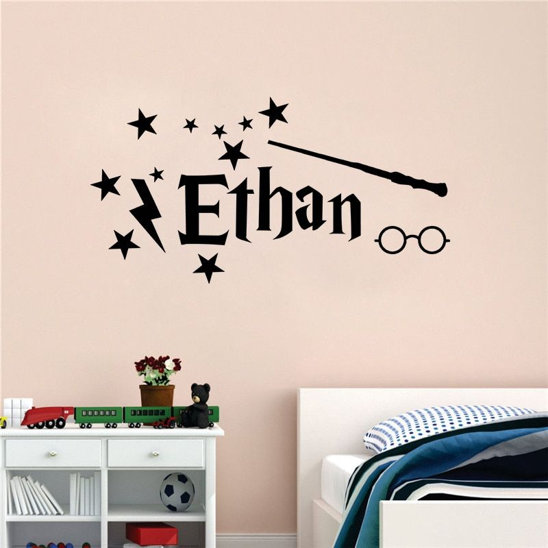 harry potter style vinyl wall sticker personalized name wall decal