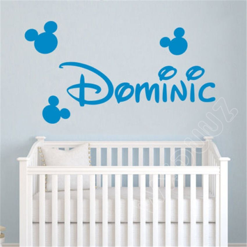 cartoon mickey mouse custom name kids nursery room decal home decor