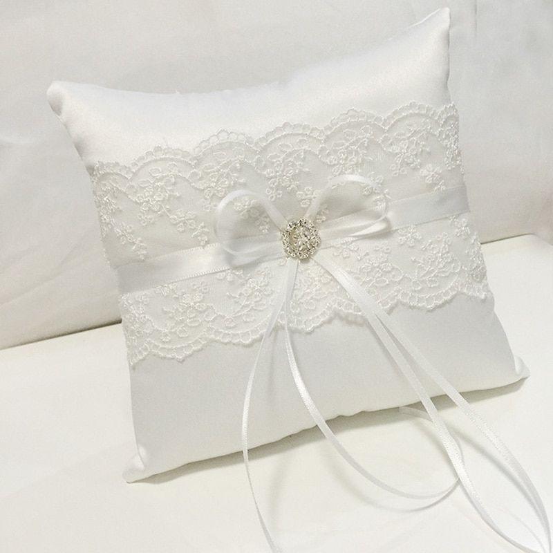Wedding Ring Pillow  Ring Bearer Pillow  Ring Pillow with Lace  Rustic Ring Pillow  White satin Ring Bearer Pillow