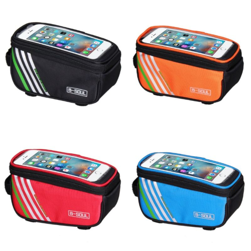 Touch Screen Bicycle Bags Cycling Mtb Mountain Bike Frame Front Tube Storag J5P5