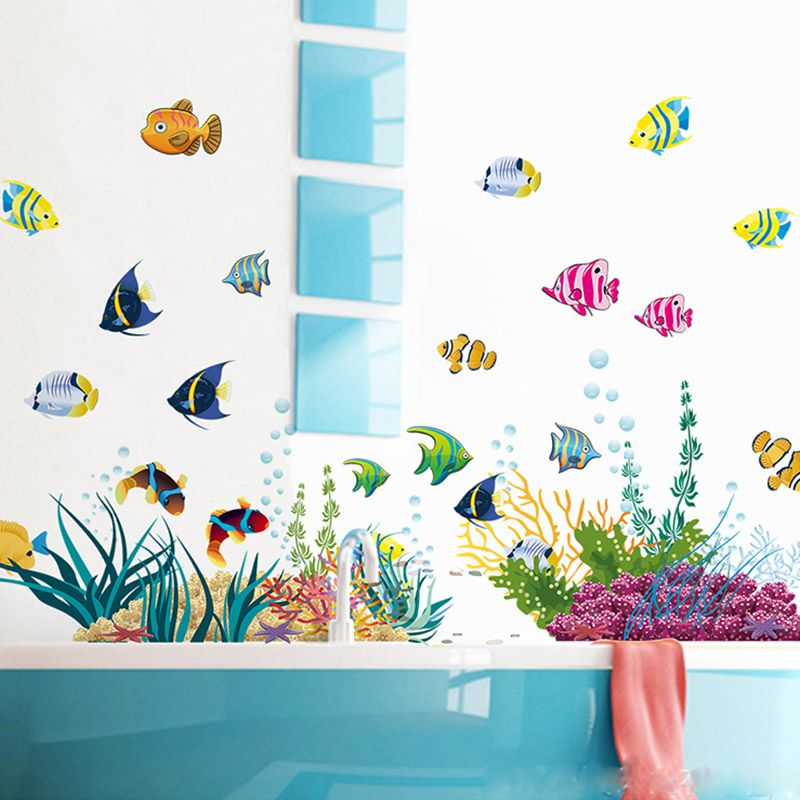 Cartoon Sea Fish Vinyl Removable Mural Wall Sticker  Room Bathroom DIY Decor#V
