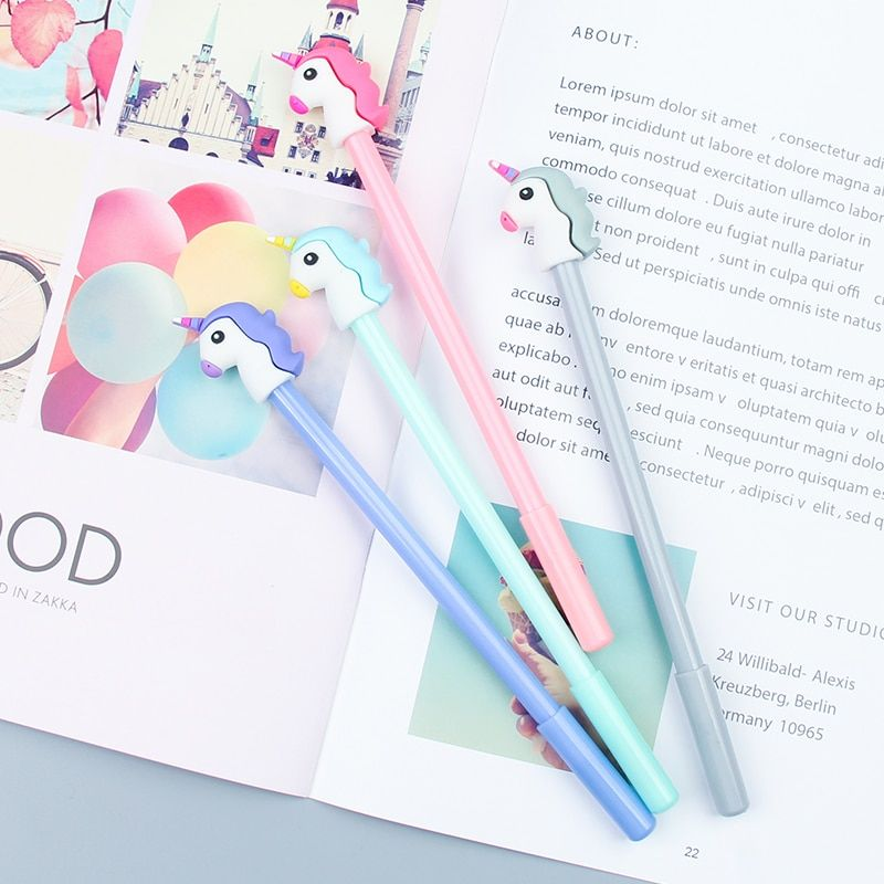 3Pcs Cartoon Unicorn Light Up Ink Gel Pen Office School Writing Stationery 0.5mm