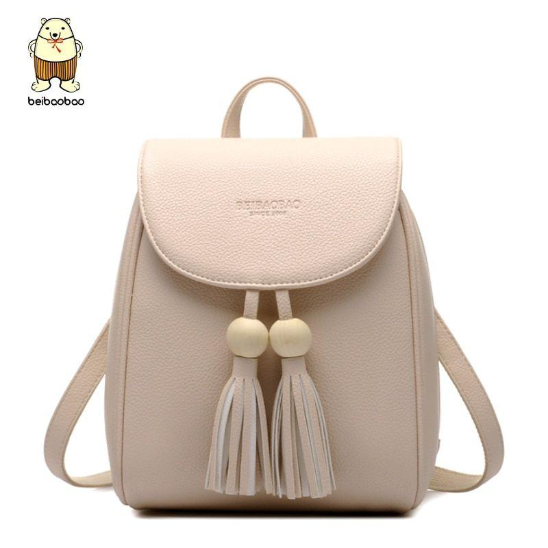 Leather Backpacks For Teenage Girls Fashion Women Tassel Travel ... 28e3502812