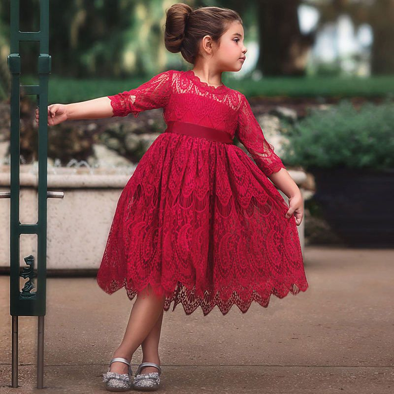 ac1fb3234 Details about Floral Lace Dress Girl Red Christmas Costume Children Party Clothing  Long Sleeve