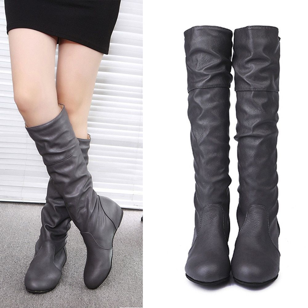 Flat Leather Boots Women