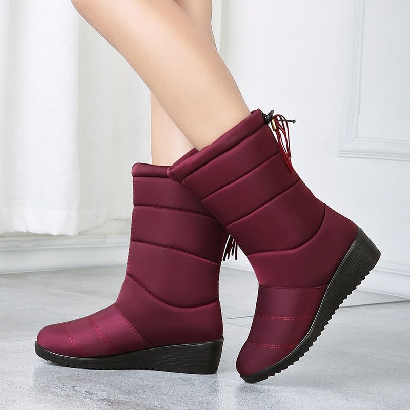 e95a91ba79b Details about Women Winter Boots Waterproof Warm Fur Mid-calf Snow Non-slip  Wedges Shoes Woman