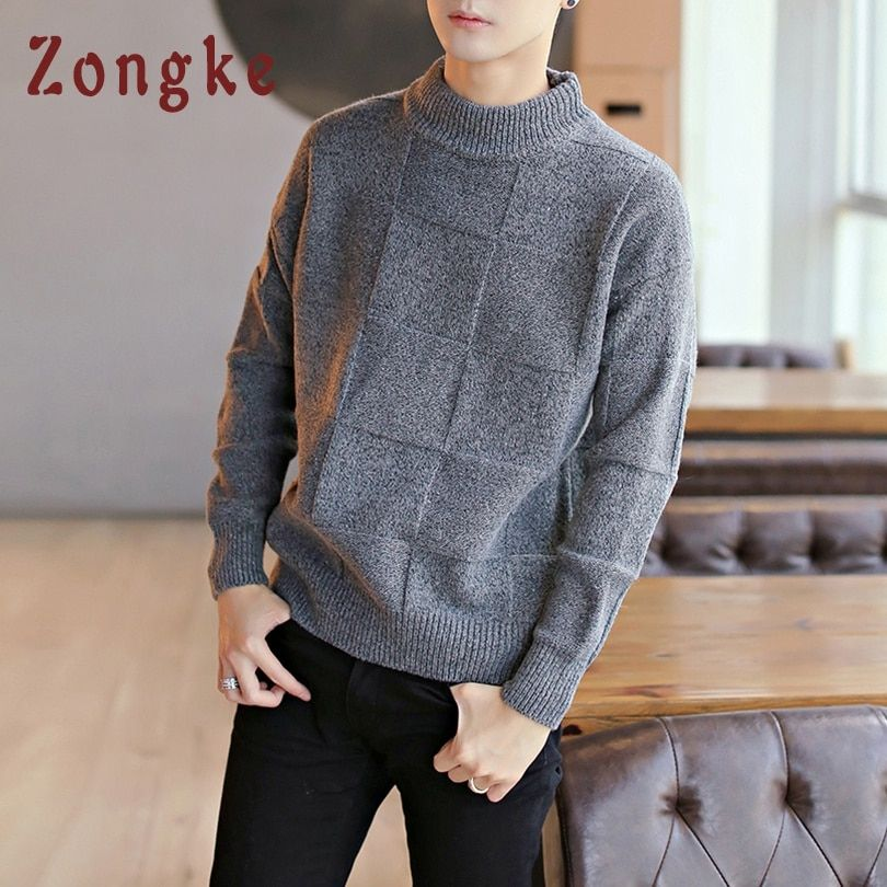 Details about Turtleneck Sweater Men Pullover Knitted Male Casual Coat  Winter Korean Clothing