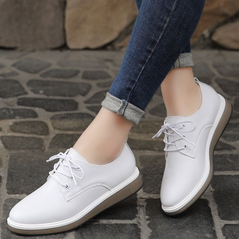 Women s Flats Fashion Korean White Shoes Leather Lace Up Casual ... b06034aecbc