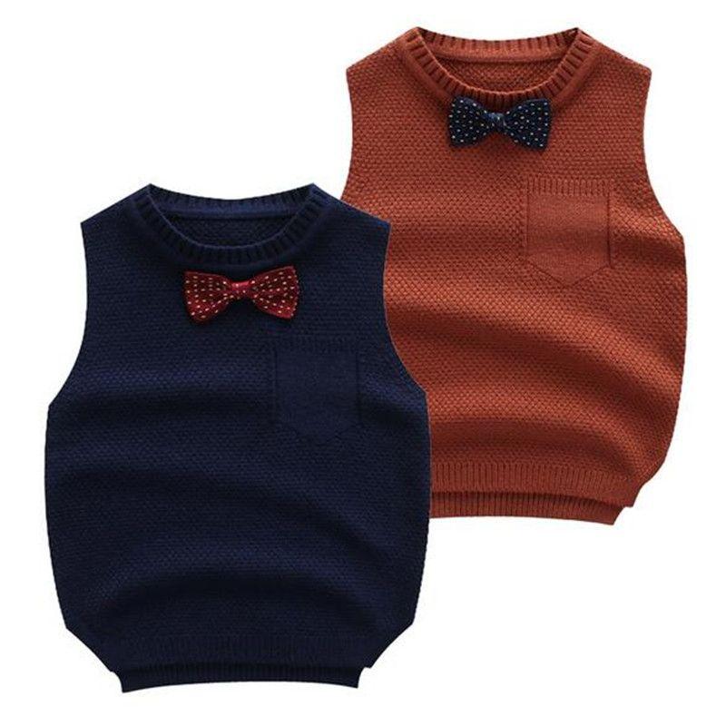 e835771f8 Boy Sweater Autumn Winter Vest With Bowtie Thick Children Warm ...