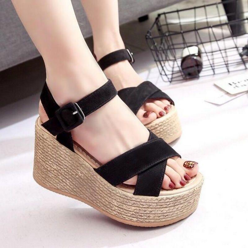 ccedcd582d2 Women s Sandal Velvet Flock Fish Mouth Fashion High Heel Platform ...