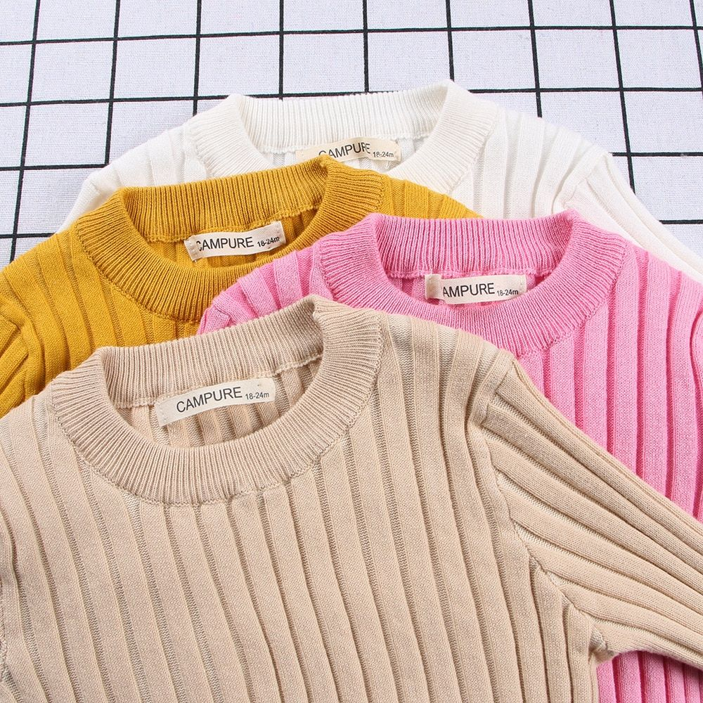 72fe2afae0d6 Girls Sweaters Solid Boys Autumn Knitted Baby Ribbed Clothing Kids ...