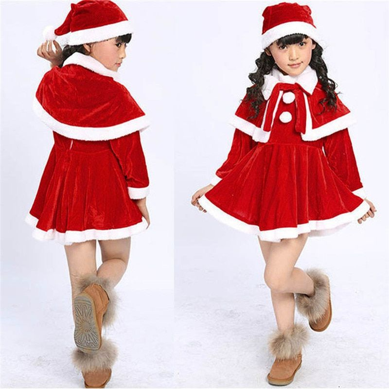 Toddler Kids Baby Girl Christmas 3PCS Cute Princess Party Dress+Shawl+Hat Outfit
