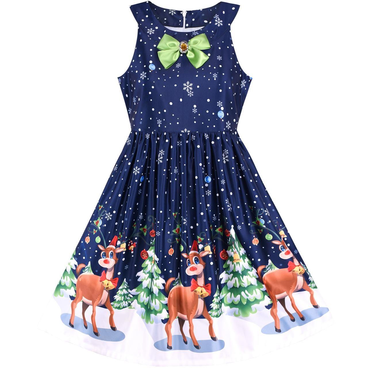 3de4d2fb0dc Details about Dress Christmas Snow Reindeer Party Princess Dresses Children  Clothes Size 7-14