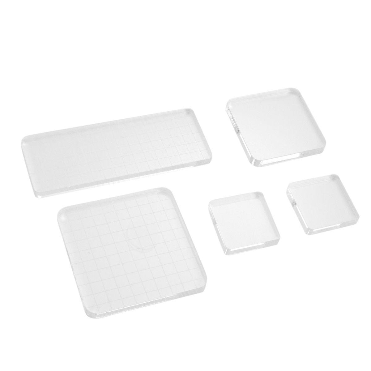 Transparent Scrapbook Clear Stamp Pad DIY Tool Supplies Acrylic Block 3 Sizes ZP