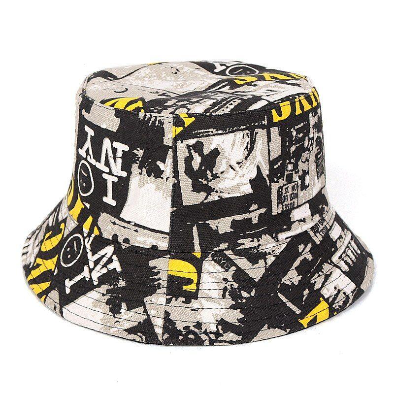 Summer Unisex Streetwear Graffiti Bucket Hat Cartoon Print Casual Fishing Hats Ebay