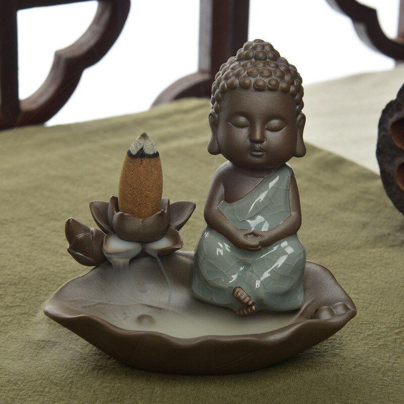 Buddha Monk Ceramic Smoke Backflow Cone Stick Incense Burner Censer Home Decor !