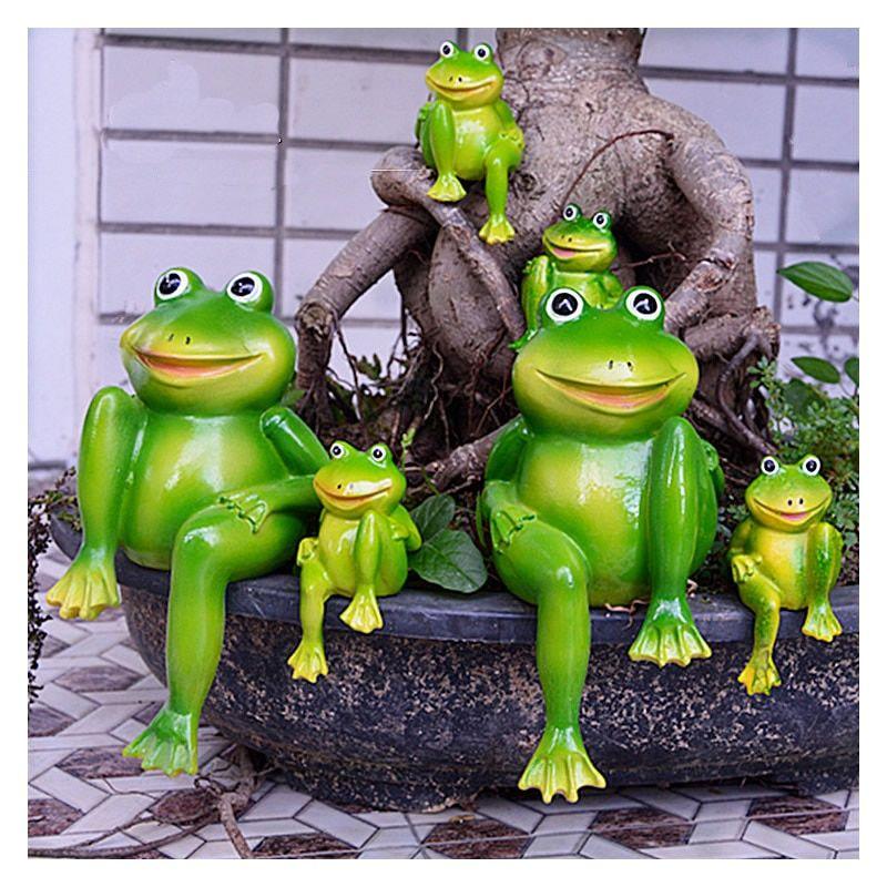 Details About Garden Frogs Ornament Landscape Decoration 2 Pcs Outdoor Figurine Set Sculpture