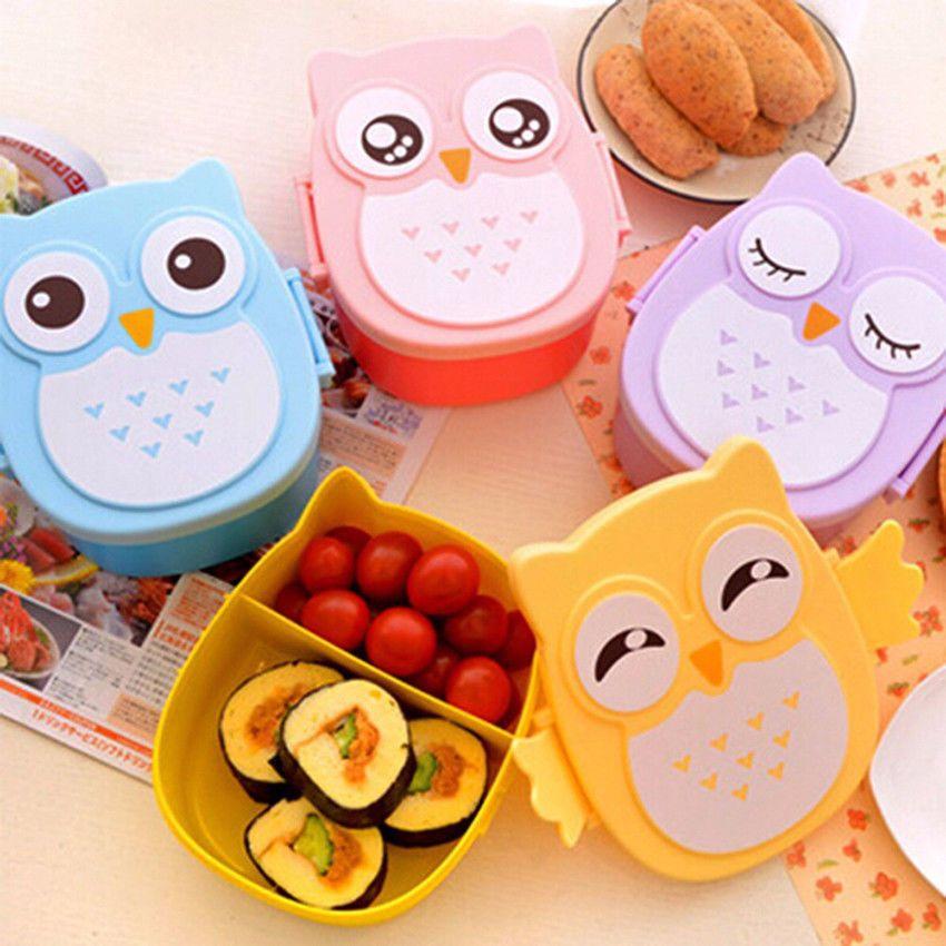 Cute Cartoon Owl Lunch Box Kids Food Container Portable Bento Storage School Ebay