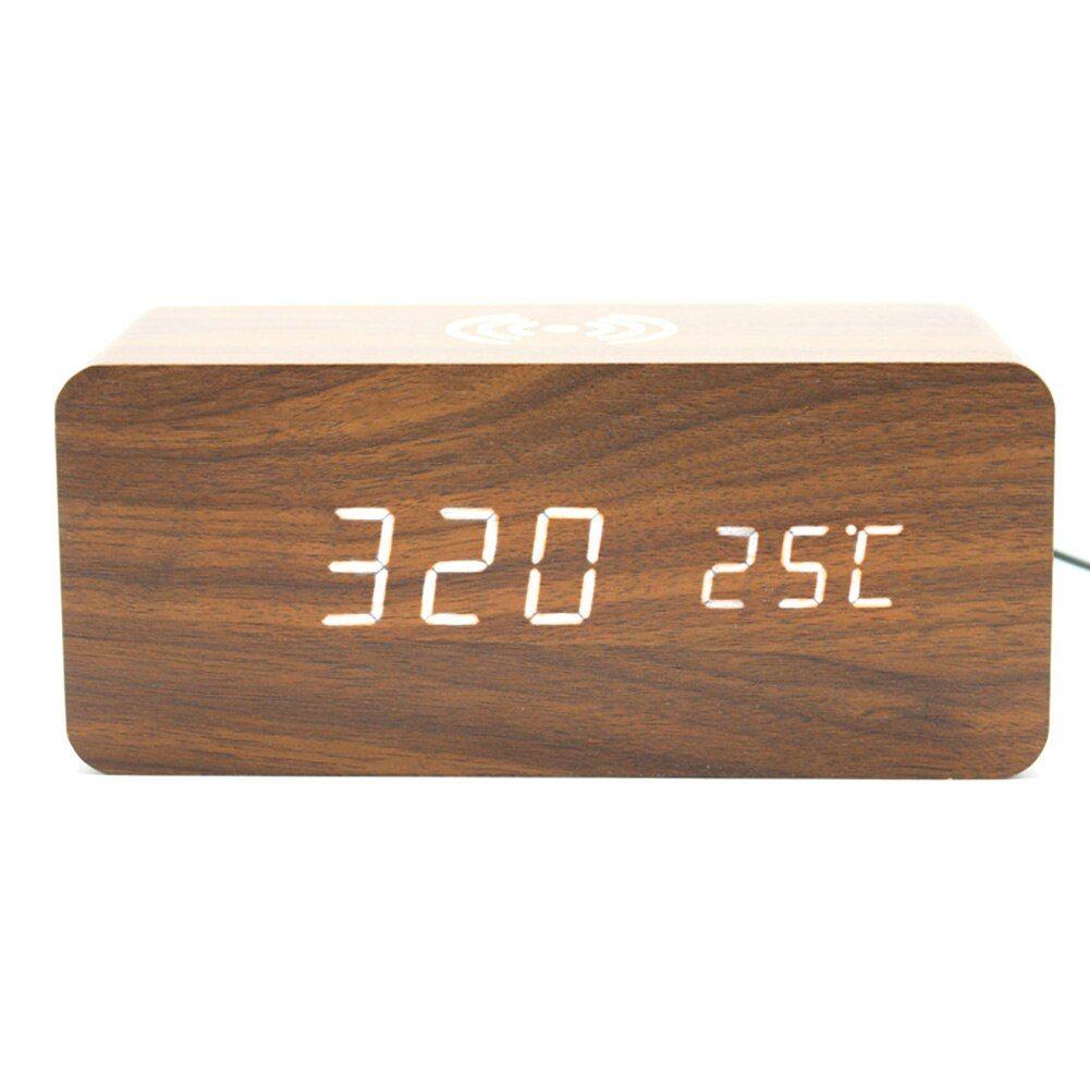 Modern Wooden LED Digital Alarm Clock Desk Voice Control Thermometer Display USB