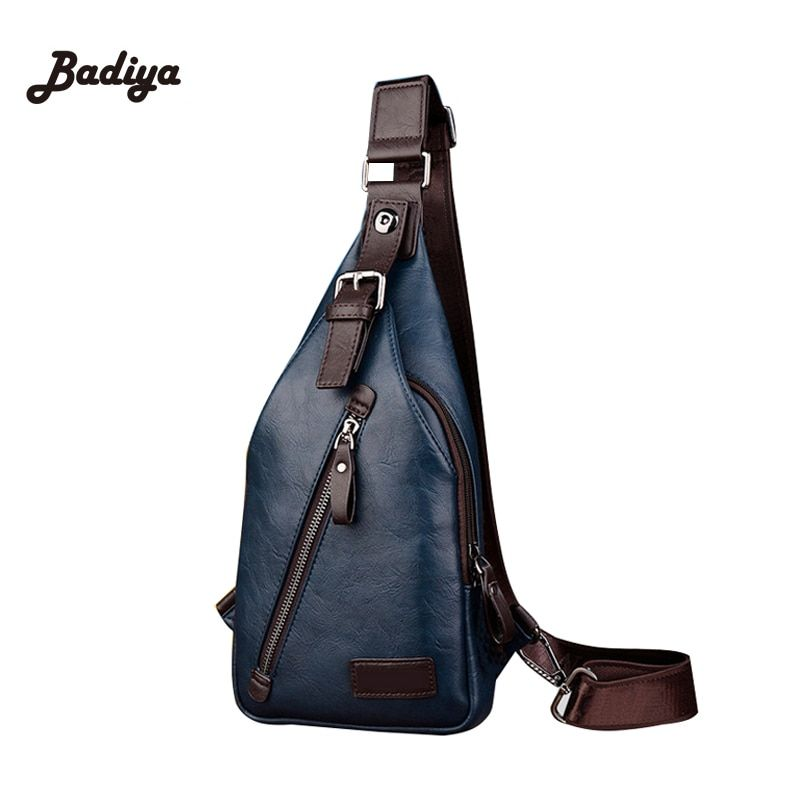 Vintage Brand Male Chest Bag Single Shoulder Strap Back Bag Men Lazy  Mochila Masculina Leather PU Travel Leisure Crossbody Bags a3151f08662f8