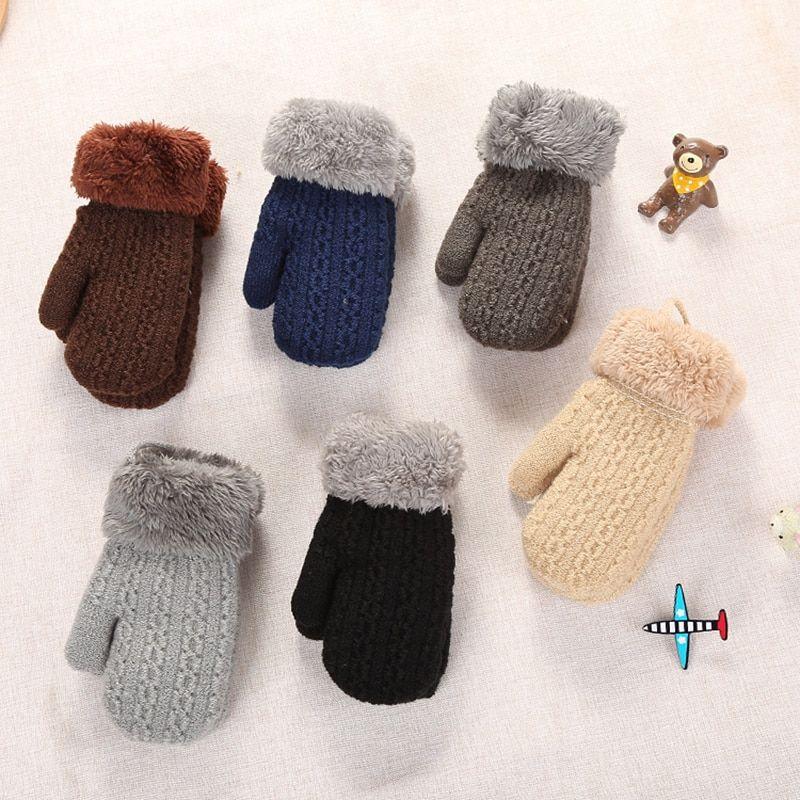 Winter Baby Boys Girls Gloves Full Finger Kids Mittens Warm Acrylic Rope Gloves