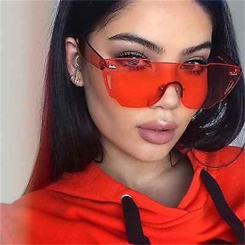 600e463620a Woman Sunglasses Yellow Pink Red Popular Fashion Shades Flat Top Rimless  Eyewear