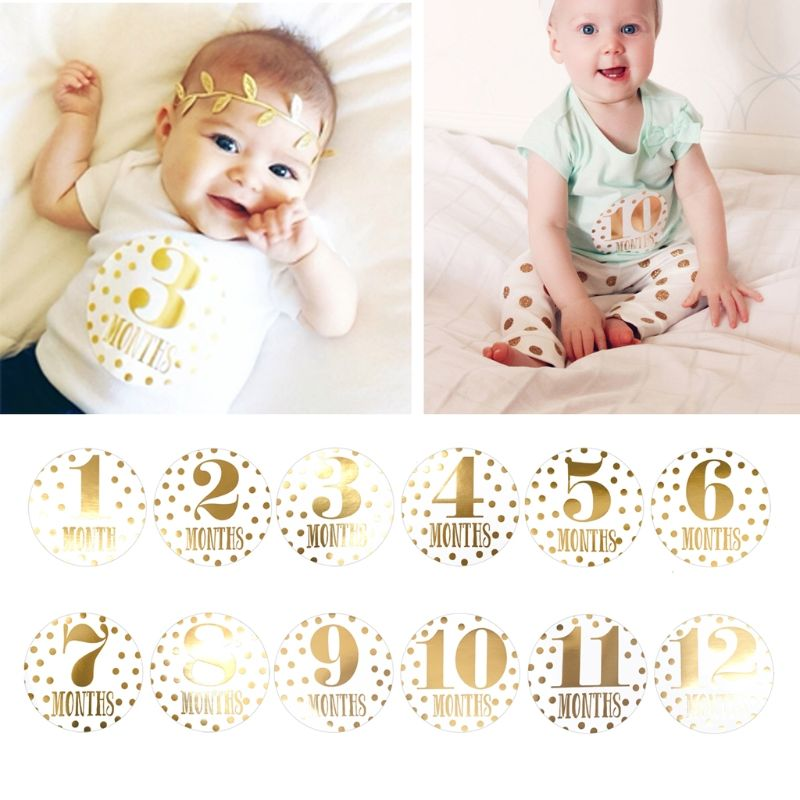 12 Pcs//Set Month Sticker Baby Pregnant Monthly Photography Cute Animal Stickers