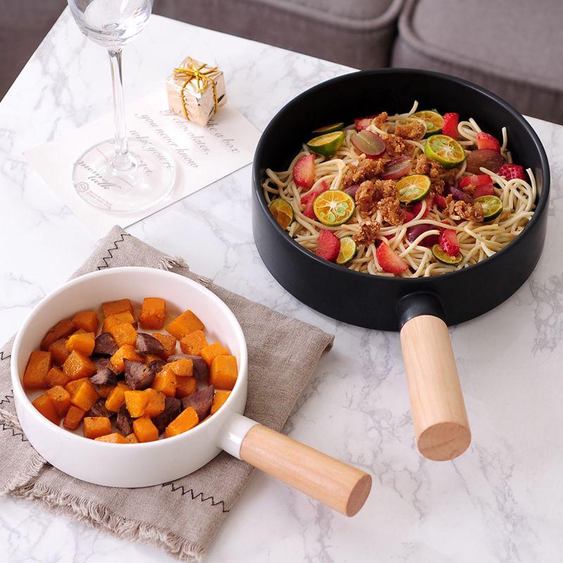 Pasta Bowl Wooden Handle Household Dish Pan Dessert Plate Ceramic Steak Cutlery
