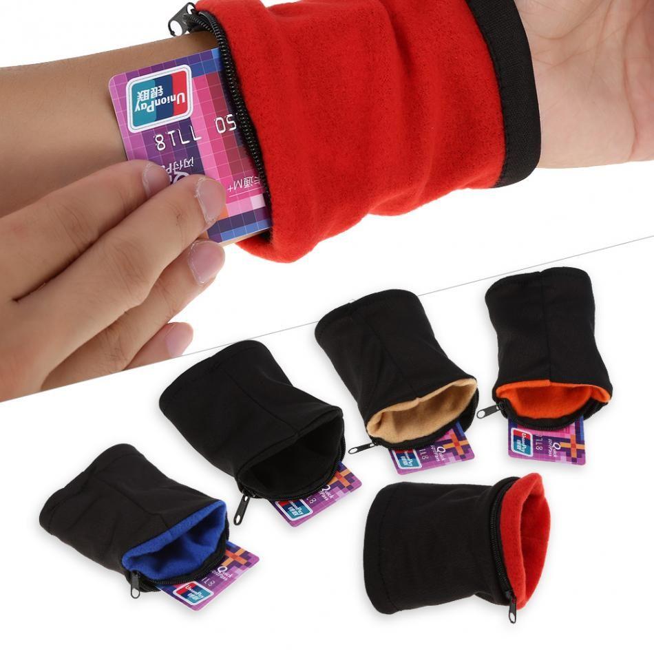 Newest Cloth Sports Gym Key Coin Zipper Travel Running Wrist Pocket Wallet Purse