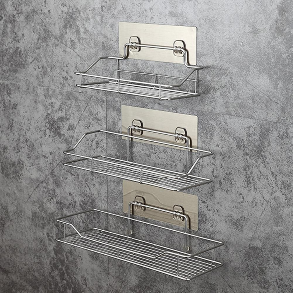 Details About Stainless Steel Bathroom Rack Wall Suction Soap Holder Toothbrush Razor Shampoo